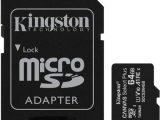TARJETA MICROSD XC 64GB + ADAPTADOR KINGSTON CANVAS SELECT PLUS – CLASE 10 – 100MB/S